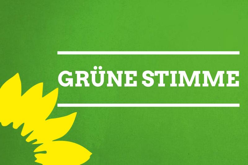 Schild mit Text Grüne Stimme