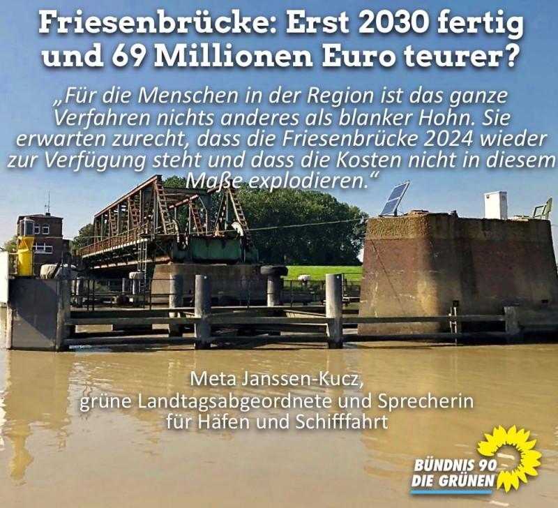 Bild mit Text zu Verzögerung und kostensteigerung des Neubaus der Friesenbrücke